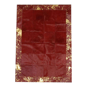 Patchwork Leather Cubed Cowhide Rug, Red With Acid Red Border, 200x300 cm