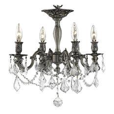 Elegant Lighting 9204F17PW Rosalia 4-Light Semi-Flush Crystal Chandelier
