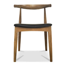 Real Oak Wood PU Leather Cushion Seat Living Room Side Dining Chair Walnut