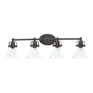 Seafarer 4-Light Bath Vanity, Oil Rubbed Bronze, Seedy Glass