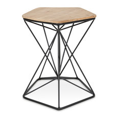 Ulane Wood And Metal End Table Natural/Black 18x18x23.5