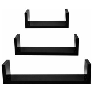 Modern Stylish 3-Piece Set Floating Wall Shelves, MDF, Black