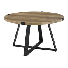 "30"" Metal Wrap Round Coffee Table - Reclaimed Barnwood and Black"