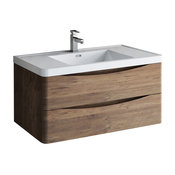 """Fresca Tuscany 40"""" Rosewood Wall Hung Cabinet With Integrated Sink"""