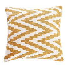 "Embroidered Chevron Dots Throw Pillow, Gold, 18""x18"""