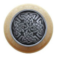 Celtic Isles Natural Wood Knob, Unfinished With Antique-Style Pewter
