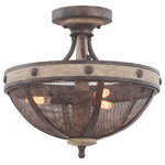 Kalco - Coronado 16x15in 3 Lt Rustic Lodge Semi-Flush by Kalco - From the Coronado collection  this Rustic Lodge 16Wx15H inch 3 Light Semi-Flush will be a wonderful compliment to  any of these rooms: Hallway; Closet; Kitchen; Entryway
