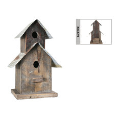 Wood Bird House Natural Rust Finish Brown