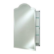 "Scallop Top Frameless Medicine Cabinets, 20""x26"", Left Hinge"