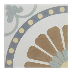"""7.75""""x7.75"""" Renaissance Ceramic Floor/Wall Tiles, Ring"""