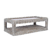 Unique Coffee Table, Covered Rattan Frame With Natural Top, Grey White Wash