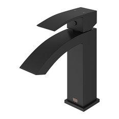 VIGO Satro Single Lever Single Hole Bathroom Sink Faucet, Matte Black