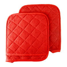 2 Piece Oversized Heat Resistant Quilted Cotton Pot Holders By Lavish Home, Red