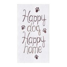 Happy Dog Happy Home Flour Sack Kitchen Towel Cotton 27 Inch