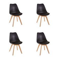 Consigned Contemporary Chairs, Solid Wooden Legs and Cushioned Pad, Set of 4, Bl