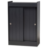 Modern Charcoal Finished 2-Door Wood Entryway Shoe Storage Cabinet