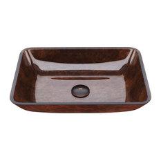 "VIGO 18"" Rectangular Russet Glass Vessel Bathroom Sink"