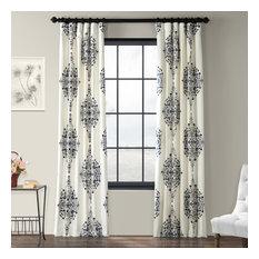 "Kerala Blue Printed Cotton Twill Curtain, 50""x96"""