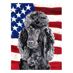 the-store - Black Standard Poodle With American Flag USA Flag, Garden Size - Flags and Flagpoles