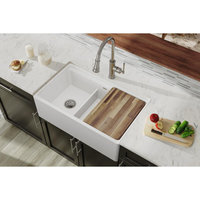 "SWUF3320 Fireclay 33"" x 20"" Farmhouse Sink Biscuit with Aqua Divide, White"