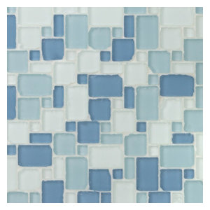 Matchstix Random Sized Glass Mosaic Tile Black Blue Contemporary Mosaic Tile By Ivy Hill Tile
