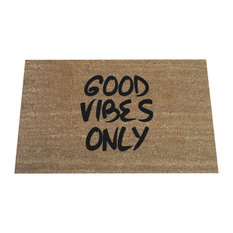 """Hand Painted """"Good Vibes Only"""" Welcome Mat, Black Soul"""
