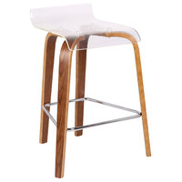 """LumiSource Clarity 26"""" Counter Stool, Walnut/Clear"""