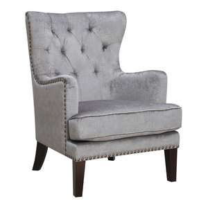 Marvelous Tall Wingback Tufted Fabric Accent Chair With Nail Head Bralicious Painted Fabric Chair Ideas Braliciousco