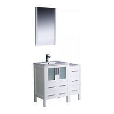 "Fresca Torino 36"" White Bathroom Vanity and Integrated Sink"