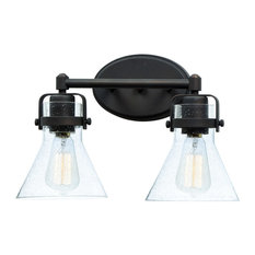"""Bathroom Vanity 2-Light With Oil Rubbed Bronze, Steel and Glass, MB, 15"""", 120W"""