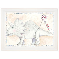 """Mr Triceratops Flies a Kite"" by Mia Russell, Ready to Hang Print, White Frame"