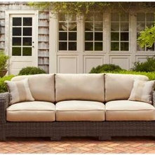 brown jordan northshore patio sofa in harvest with regency wren throw pillows dy brown jordan northshore patio furniture
