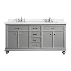 """Charlotte Vanity with Carrara Quartz Stone Top, Grey, 72"""", Without Mirror"""