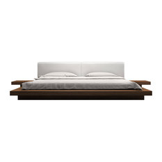 Worth Cal King Bed, Walnut, White Leatherette