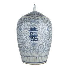 belle and june blue u0026 white floral double happiness ginger jar decorative jars and - Ginger Jars