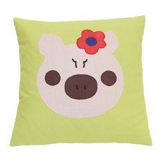 """Pillowed - Piggy Pillow, 18""""x18"""" - Kids Pillows"""