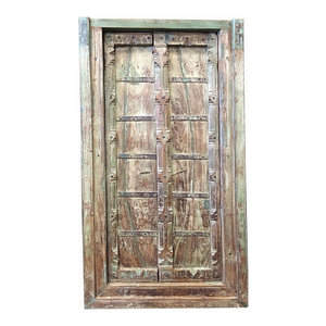 Mogul Interior - Consigned Haveli Terrace Doors Old World Architecture Indian Door With Frame - Interior Doors