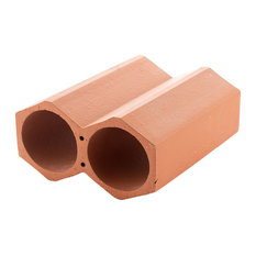 "Botellera 4.75""x9.25"" Terracotta Stackable Wine Rack, Unglazed, Set of 24"