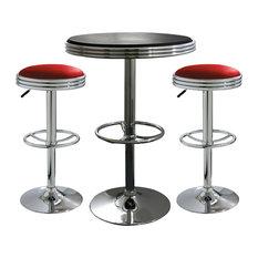 Amerihome Kitchen Bar Game Room 3 Piece Soda Fountain Style Bar Set Red/Black