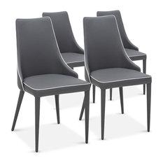 inside 75 lot de 4 chaises drogo grises avec un liser blanc design chaise - Chaise De Salle A Manger Moderne