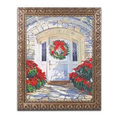 """David Lloyd Glover 'Poinsettia House' Ornate Framed Art, 16""""x20"""""""