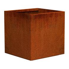 "Corten Steel Planter, Cube Small, 16""Lx16""Wx16""H"