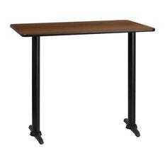 "Dyersburg 30""x48"" Rectangular Walnut Laminate Table Top With 42"" T-Base"
