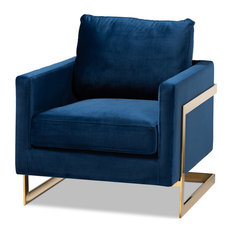 Baxton Studio Matteo Royal Blue Velvet Fabric Gold Finished Armchair