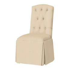 Hampton Tufted-Back Skirted Parsons Chair, Linen