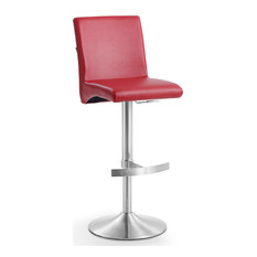 Modern Coveteur Adjustable Height Swivel Bar Stool in Red