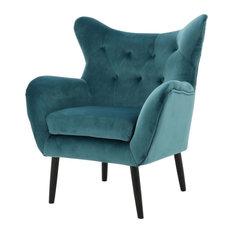 GDF Studio Kotop Light Gray New Velvet Wingback Arm Chair, Teal