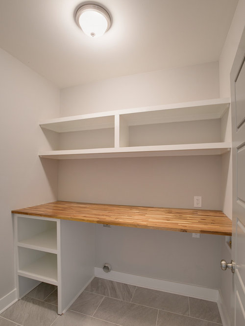 buanderie petit budget avec un plan de travail en bois. Black Bedroom Furniture Sets. Home Design Ideas