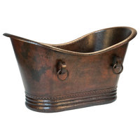 """60"""" Hammered Copper Double Slipper Bathtub With Rings"""