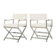GDF Studio Vista Leather Modern Arm Chairs, White, Set of 2